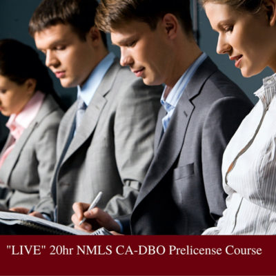 -LIVE- 20hr NMLS CA-DBO Prelicense Course - Product Pic