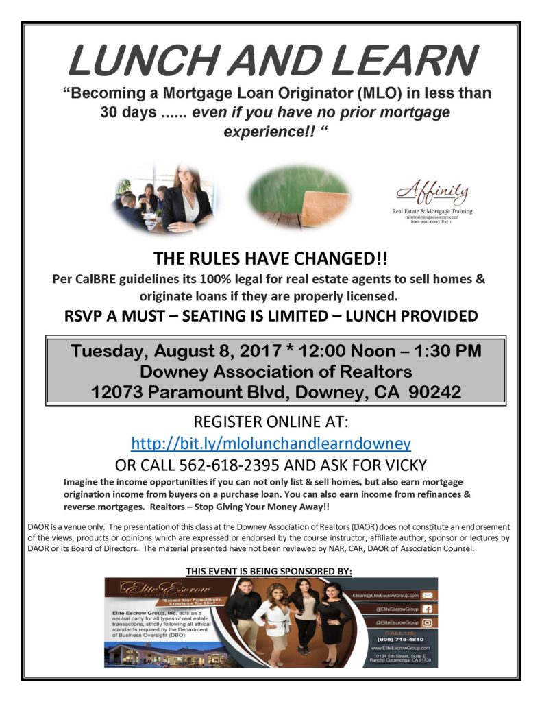 Lunch and learn becoming a mortgage loan originator for Learn mortgage