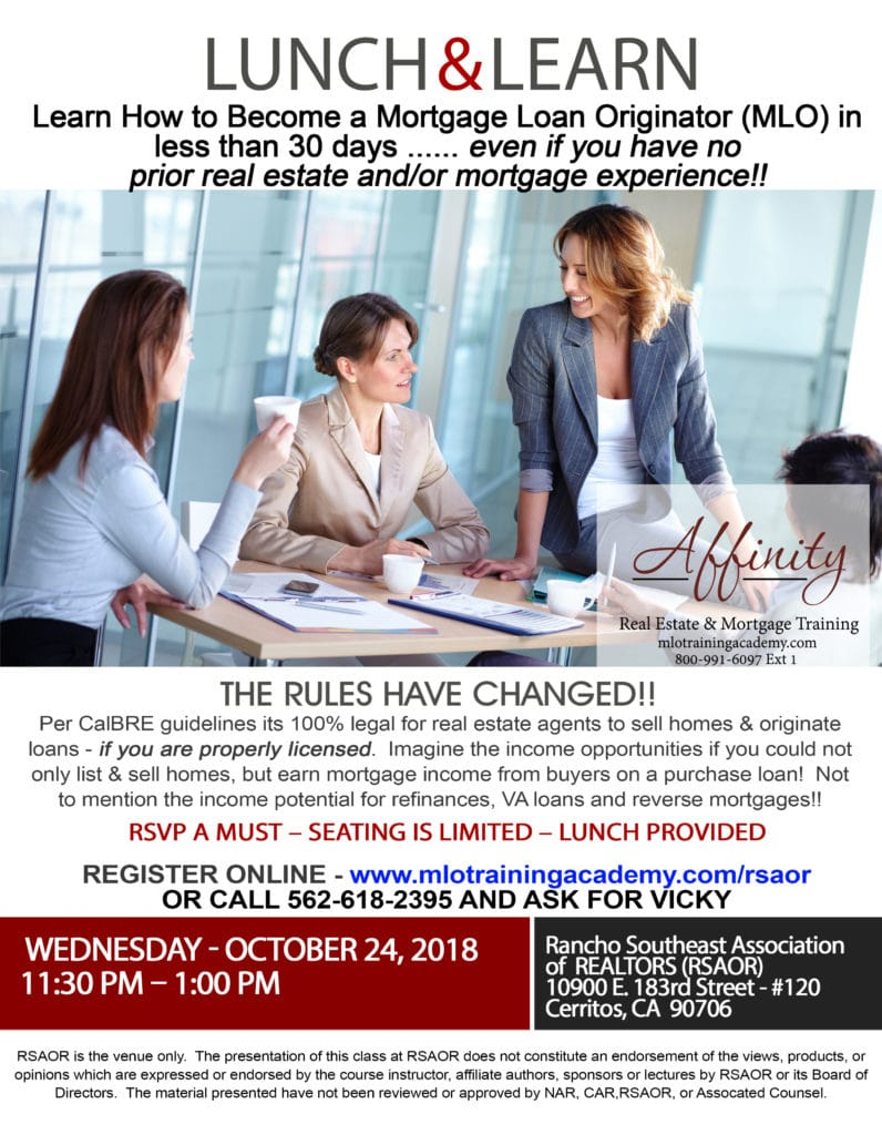 Lunch and learn october 24 2018 cerritos becoming a for Learn mortgage